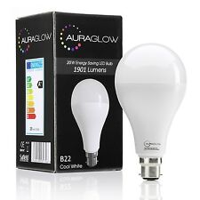 AURAGLOW 20w LED B22 Bayonet Light Bulb, Cool White, 6500K 1901 lumen - 120w EQV
