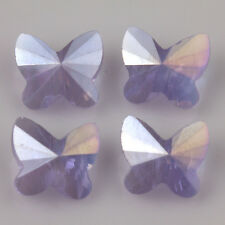 10Pcs Faceted Glass Crystal Butterfly Spacer  Charm Findings Loose Bead 8x5mm