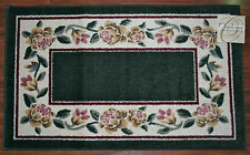 20X34 Kitchen Rug Mat Hunter Green Washable Mats Rugs Flowers Floral Yellow Pink