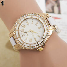Reloj De Pulsera Reloj De Señora oro Strass Cuarzo Analógico Damas blanco
