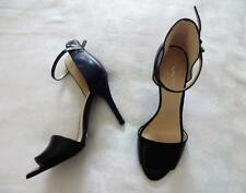 EUC!! Black and navy NINE WEST open toe high ankle strap stiletto heels size 9M