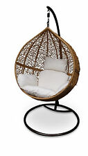 Outdoor Hanging Egg Chair - Natural Brown Basket with Beige Cushions - PRESALE