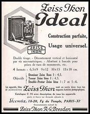 Publicité ZEISS IKON  IDEAL appareil photo vintage print ad  1929