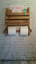 Rustic wooden wall double toilet roll holder and book magazine rack - hand made