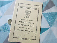 Metropolitan WATER Board Beechcroft Res HONOR Oak 1934 ATHLETIC Sports Programme