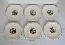 Vintage Harker Pottery - Lot of 6 Square Luncheon Plates - Godey Courting Couple