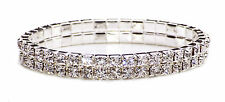2 Fila Elástico exquisito Diamante Pulsera GLAM BLING desgaste Party Time (NS7/CL28)