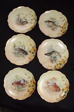 """6 Vienna Hand Painted China Fish Plates 8 5/8"""" all Different Artist Signed Mint"""