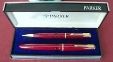 "PARKER "" DUOFOLD "" JUNIOR FOUNTAIN PEN AND PENCIL, in RED; ENGLAND, EXTREM RARE"