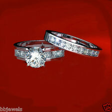 1.50 CT Diamond Solitaire Bridal set Engagement Ring 10K White Gold Over