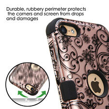 for iPod Touch 5th / 6th Gen - ROSE GOLD Swirl Flowers Armor Impact Hybrid Case