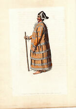 TRADITIONAL RUSSIAN COSTUMES - ALEUTIAN -  HAND-COLOURED COPPERPLATE (1803)
