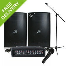Band PA System 600W 4-Ch USB Mixer Amp Speakers DJ Studio Live Music Set Karaoke