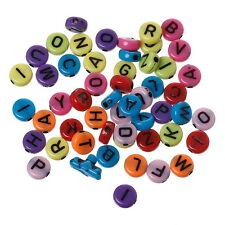 "GB 1000PCs Multi Round Acrylic Beads Carved Letters/Alphabet""A-Z"" DIY  7x3mm"