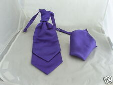 Any  MENS and BOYS Double Drop-WEDDING-Ruche Polyester Tie Cravat and Hankie Set