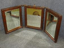 Antique Victorian Tri-Fold Wooden Table/Travel Mirror with Beveled Edges