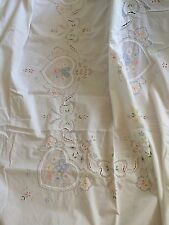 VINTAGE FRENCH LINEN TABLECLOTH THROW DRAPE APPLIQUÉ WHITE PULLED THREAD WORK A1