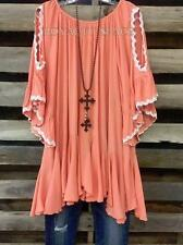 BOHO GYPSY CHARM DRESS IN ORANGE LONG TUNIC LOOSE FITTING OFF-SHOULDER PLUS-3X