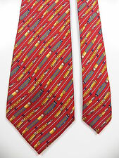 BURBERRY MENS VINTAGE RARE 100% SILK NECK TIE RED FOUNTAIN PEN PRINT FRANCE MADE