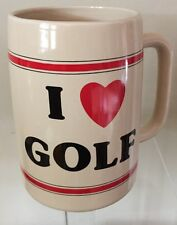 "Russ Berrie & Co I Heart ( love) Golf Beer / Coffee Mug Korea 4 3/4 ""Tall  3"" W"