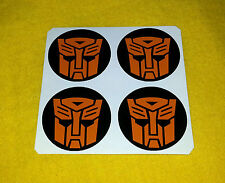 ALLOY WHEEL STICKERS 4 x 55mm Transformers Autobots Orange logo center cap Decal