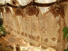 BURLAP BOWS -Shabby French Chic HAND Crochet Valance Curtain Cream Ties ROSETTE