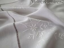 Beautifully Embroidered Antique Small Linen Tablecloth Topper 30""