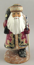 """Authentic Russian Wooden Walking  Santa  Hand Carved & Painted Signed 12.5"""""""