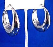 "LARGE STAINLESS STEEL HOLLOW OVAL HOOP EARRINGS, 1.75"" x 1.50"""