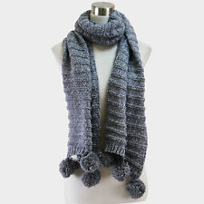 New Women's Winter Warm Soft Knitted Scarf Wrap Shawl with Pom Pom S5395