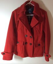 AE American Eagle Double-Breasted Wool Blend Red Pea Coat Medium