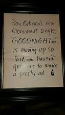 Roy Orbison Goodnight Rare Original Promo Poster Ad Framed!