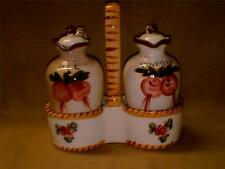 Vintage Hand Painted Nasco Japan Oil & Vinegar Cruet Set w/ Handled Caddy-Holder