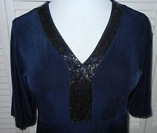 Chicos Travelers top size 1/6/8 Blue Beaded V Neck Short Sleeve Womens NWT $78