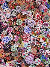 30 MIXED WOODEN FLORAL FLOWER BUTTONS! SHABBY CHIC CRAFTS CHERRY BLOSSOM ROSE