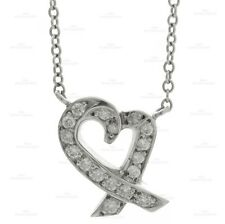 2000s TIFFANY & CO. Loving Heart Diamond Platinum Pendant Necklace