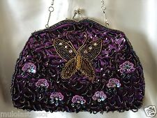 VINTAGE LOOK PURPLE BUTTERFLY FULLY HAND-SEWN BEADED EVENING PURSE/CLUTCH/BAG