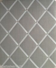 Slate Grey Linen Fabric, Chrome Trim MEMO MESSAGE PINBOARD LARGE NOTICE BOARDS