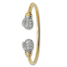 9ct Gold Baby Bangle Boxing Glove Christening Cubic Zirconia Hallmarked 5.5""