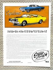 1968 1969 LINCOLN MERCURY CYCLONE MONTEGO & CJ CAR LITERATURE FACT SHEET 62