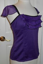 New $59 GUESS Purple Tiered Ruffle Flutter Straps Cami Tank Top Blouse~L~REDUCED