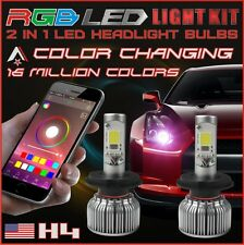 H4 2 in 1 LED Headlight Bulbs + RGB Demon Eye Bluetooth Control for Car/Truck