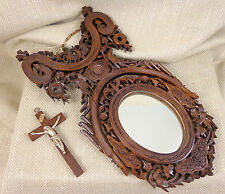 Antique Mirror Hand Carved Black Forrest Ornate Wooden Crucifix Oval Victorian