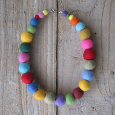 Felt Necklace - handmade colourful wool felt balls rainbow necklace boho cute