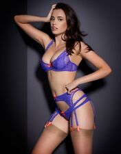 Agent Provocateur REI SUSPENDER in PURPLE FRENCH LACE & SILK - AP Size 3 - BNWT