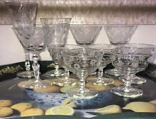10 VTG 40's Etched Floral Champagne Coupes Sherbet Glasses Wine Sherry Barware
