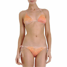 MISSONI MARE MADAGASCAR ORANGE REVERSIBLE KNIT CROCHET BIKINI IT 42 UK 10
