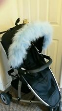 Pram Pushchair blue faux fur Hood Trim, fits any hood quinny bugaboo stokke.