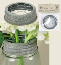 Rustic Bridal FLOWER FROG LID Ball & Mason Jar Barn Roof Gray with Chicken Wire