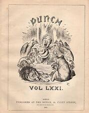VINTAGE Punch ILLUSTRAZIONE 1876-pagina del titolo